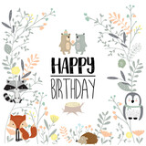 Colorful Greeting Card  Bearfoxporcupineowlflowerleaf And Plant Wall Sticker