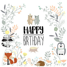 Colorful Greeting Card  Bearfoxporcupineowlflowerleaf And Plant Sticker