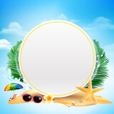 Blank circle with copy space Starfish flower palm leaf sand with copyspace and summer beach element over cloud and blue sky background vector illustration