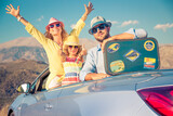 Happy family travel by car in the mountains - 157157783
