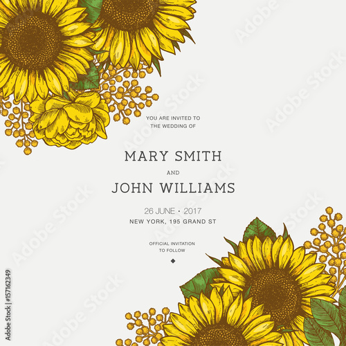 Sunflower vintage wedding invitation. Sunflowers card design. Vector illustration