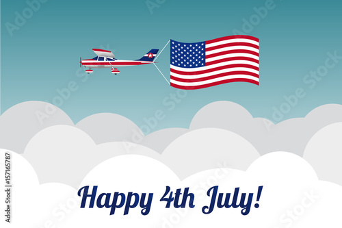 Plane in the sky  with American flag. Vector illustration