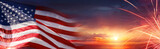 American Celebration - Usa Flag And Fireworks At Sunset - 157167952