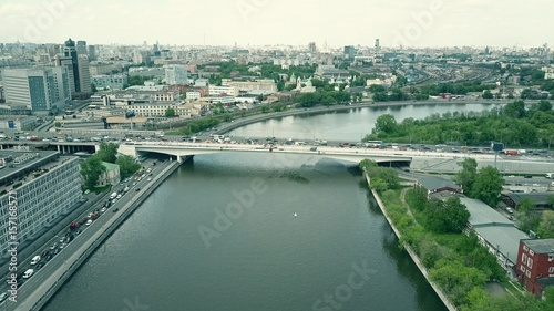 Foto op Canvas Stadion Aerial shot of the Moscow river and the summer cityscape