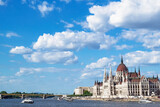 Parliament Building and View of Danube River with Clouds, Budapest, Hungary