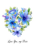 Watercolor illustration with blue floral heart. - 157178771