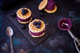 Waffles and Blueberry Ice Cream - 157181931