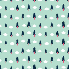 Seamless geometric pattern made of trees and clouds