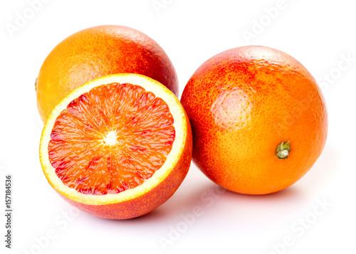 blood oranges isolated on white background