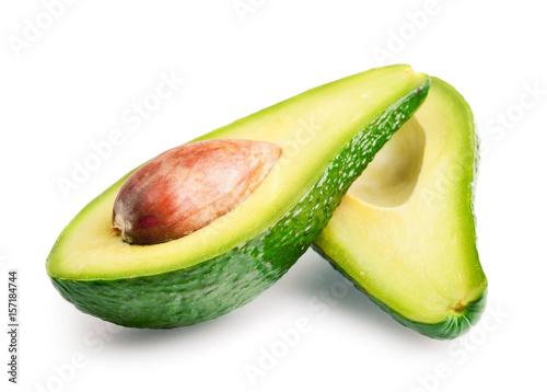 Avocado halves isolated on white background