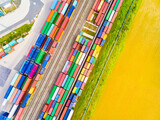 Aerial view of containers at railway. Industrial background. Industry from above. Environment and transportation.  - 157187549