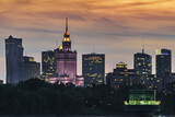 Warsaw skyscrapers panoramic view during sunset