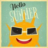 Summer Time Retro Square Poster
