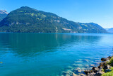 Thuner lake at Thun with beautiful panorama view to mountain scenery - Switzerland