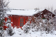 Red Cabin in Snow