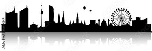 obraz lub plakat Wien Skyline Silhouette schwarz