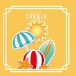 decorative frame with summer and vacations related icons over yellow background. colorful design. vector illustration