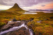 Landscapes and waterfalls. Kirkjufell mountain in Iceland