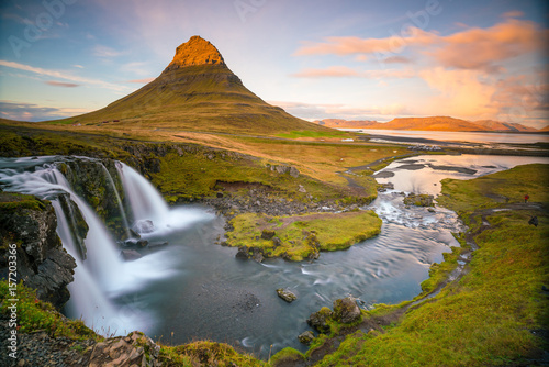 Landscapes and waterfalls. Kirkjufell mountain in Iceland - 157203366