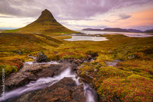 Landscapes and waterfalls. Kirkjufell mountain in Iceland Poster