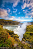 Beautiful and famous Gullfoss waterfall in Iceland