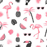Seamless tropical trendy pattern with watercolor flamingo, watermelon slices and palm leaves. Vector summer background.