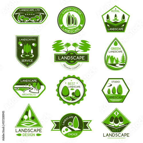 Fotobehang Wit Landscape design badge set of park and garden tree