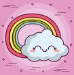 kawaii cloud with a rainbow icon over pink background. colorful design. vector illustration