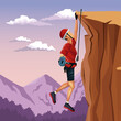 scene landscape man hanging on the cliff anchored to the top rock climbing vector illustration