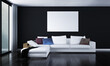 Modern living room and lounge interior design and black wall background