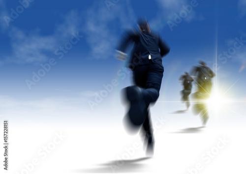 光を目指して走るビジネスマン Poster