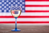 American flag and glass of white wine, party concept - 157228508