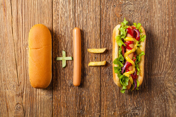 Concept, equation, result. The effects of eating hot dogs. Conceptual photo.