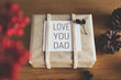Beautiful present, Father's day flat lay background
