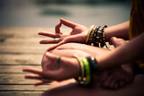 Fototapety woman in a meditative yoga position closeup outdoor