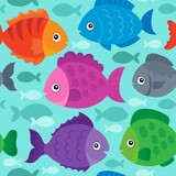 Seamless background stylized fishes 1