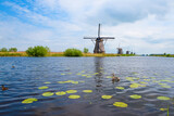 Traditional Dutch windmills on the canal bank in Kinderdijk Netherlands