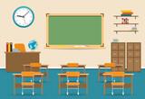 Fototapety Empty classroom vector illustration. Nobody school class room interior with blackboard