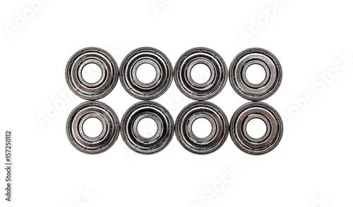 New replacement Roller Skate Bearings isolated on white background. - 157250112