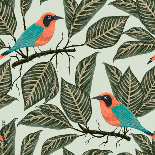 Cotton fabric Seamless pattern with tropical birds and plants. Exotic flora and fauna. Vintage hand drawn vector illustration in watercolor style