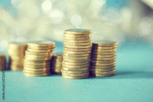 Poster stacks of golden coins (euros)