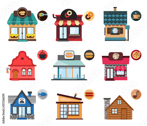 Set of stylized illustrations of restaurant objects. Collection of nine illustrations of restaurants of a various design and purpose from traditional and classic to modern fast food restaurants.