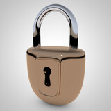Locked lock. 3D rendering.
