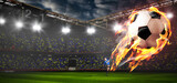 Soccer or football ball on fire at stadium - 157271512