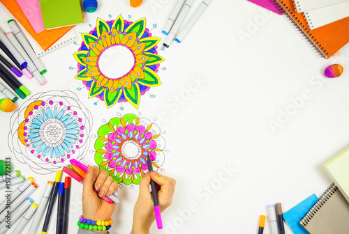 Bright ornamental flower mandala painted markers Poster