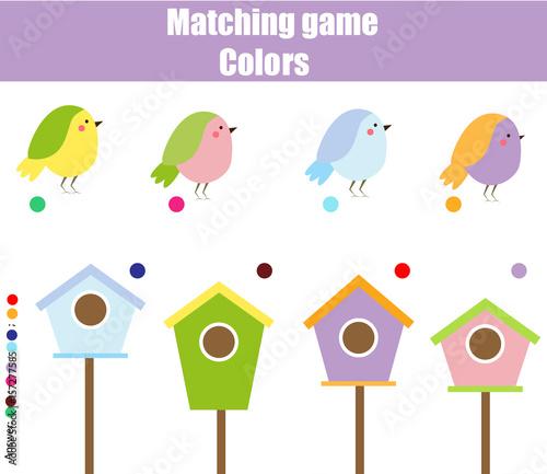 Gra edukacyjna dla dzieci. Dopasuj według koloru. Znajdź pary ptaków i birdhouse