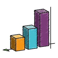 Graphic statistical bar icon over white background. vector illustration