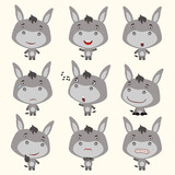 Set funny donkey in different poses. Collection isolated donkey in cartoon style for design children holiday and goods.