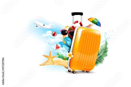 Air plane open luggage travel case with Starfish flower palm leaf sand beach element on the white background for summer tour concept vector illustration
