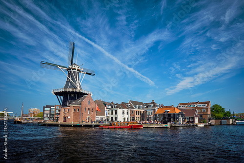 Juliste Harlem landmark  windmill De Adriaan on Spaarne river. Harlem,